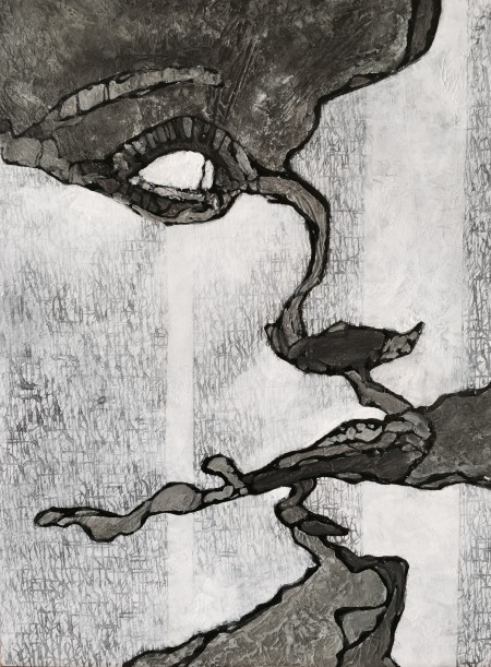 """Fragment XII"" - Acrylic & ink on board, 40x30cm."